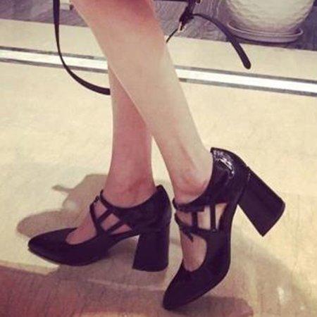PU Buckle Casual Chunky Heel Spring/Fall Heels