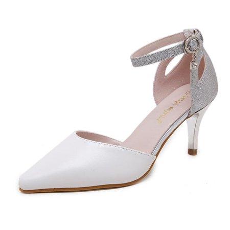 Low Heel Summer Casual PU Sequin Heels