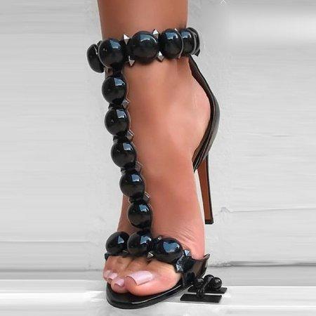 Black Stiletto Heel Beading Spring/Fall Sandals