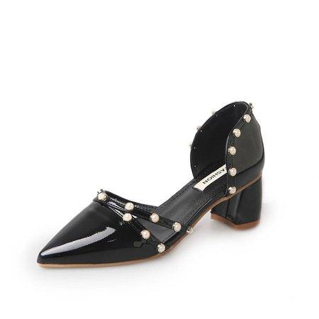 Pearl Casual Chunky Heel Summer PU Heels