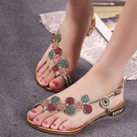 Golden Casual PU Rhinestone Summer Sandals