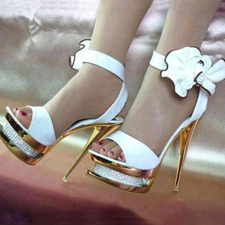White Flower PU Summer Stiletto Heel Heels