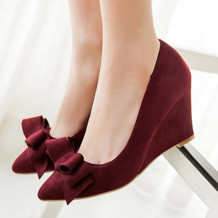 Ladies Plus Size Bowknot Suede Wedges For Valentine's Day