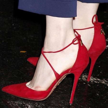 Red Spring/Fall Lace-up Stiletto Heel Heels