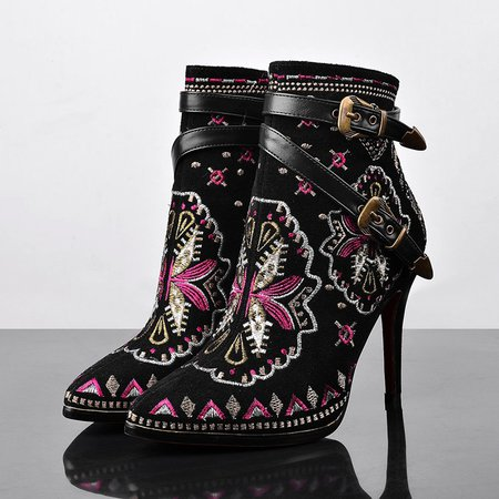 Black Buckle Spring/Fall Stiletto Heel PU Boots
