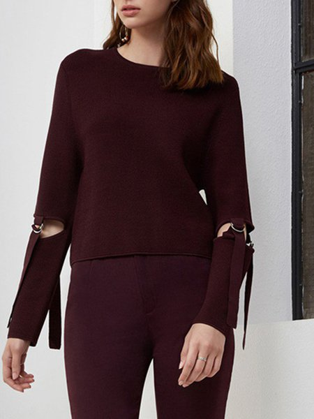 Long Sleeve Viscose Solid Casual Sweater