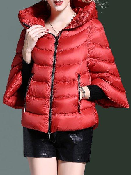 Casual Polyester H-line Hoodie Half Sleeve Down Coat