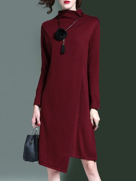 Asymmetrical Turtleneck Elegant Long Sleeve Sweater Dress