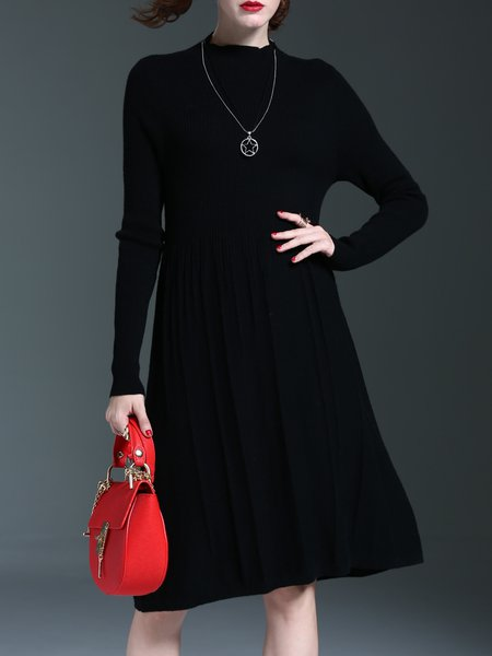 Knitted Pleated A-line Casual Sweater Dress