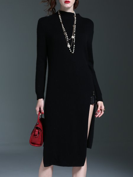 Slit Knitted Long Sleeve Wool Asymmetric Sweater Dress