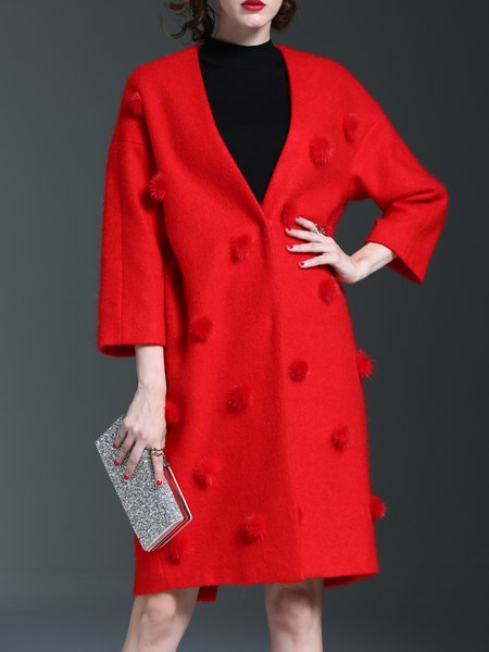 Long Sleeve Wool Blend V Neck H-line Coat