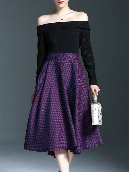Purple Elegant Off Shoulder Midi Dress