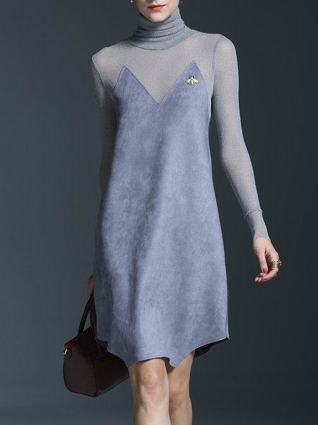 Elegant Turtleneck Glitter-finished Midi Dress