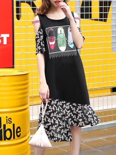Cotton Casual Cold Shoulder Asymmetric Cold Shoulder Midi Dress