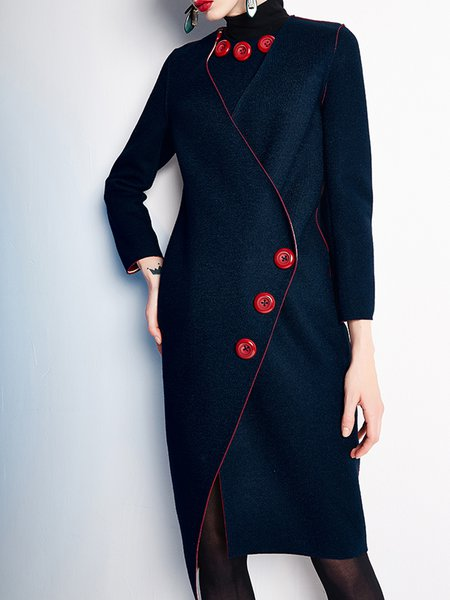 Navy Blue Buttoned V Neck Statement Coat