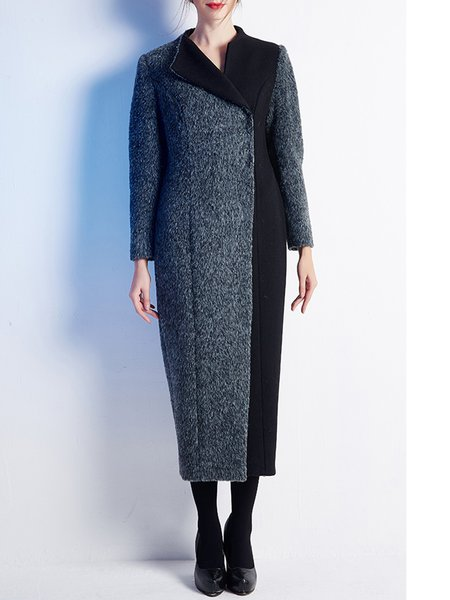 Black-grey Wool Simple H-line Plain Coat