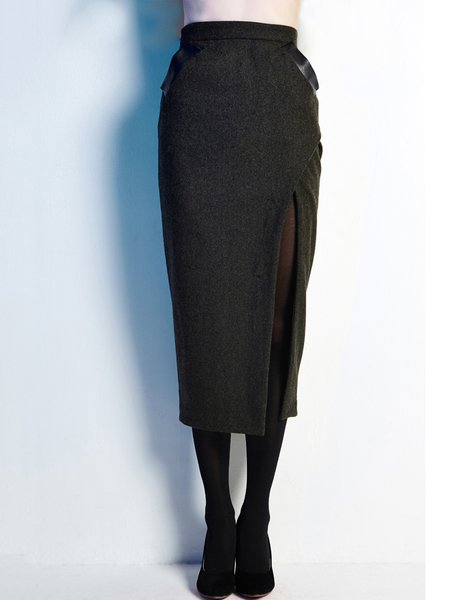 Dark Green Plain Slit Sheath Wool Midi Skirt