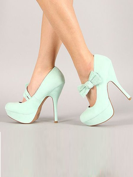 Light Green Spring/Fall PU Heels