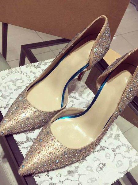 Golden Goat Skin Stiletto Heel Party & Evening Heels