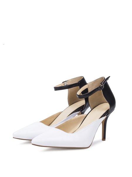 White PU Stiletto Heel Buckle Summer Heels