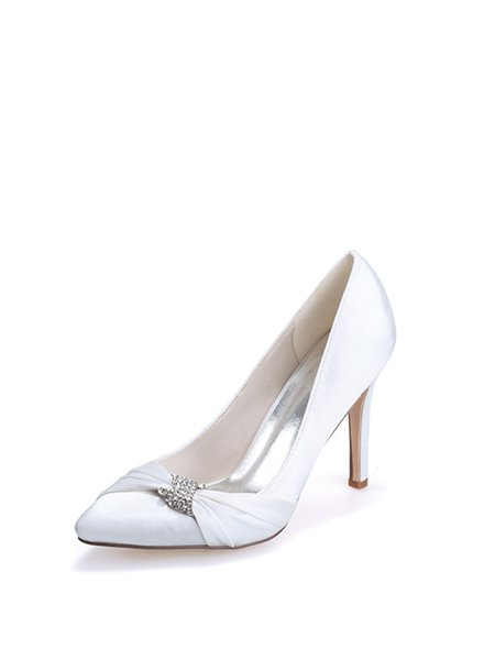 White Silk Fabric Stiletto Heel Spring/Fall Heels