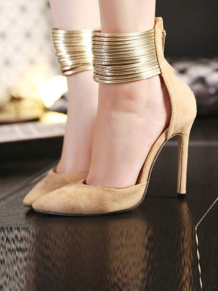 Suede Stiletto Heel Spring/Fall Hollow-out Sandals