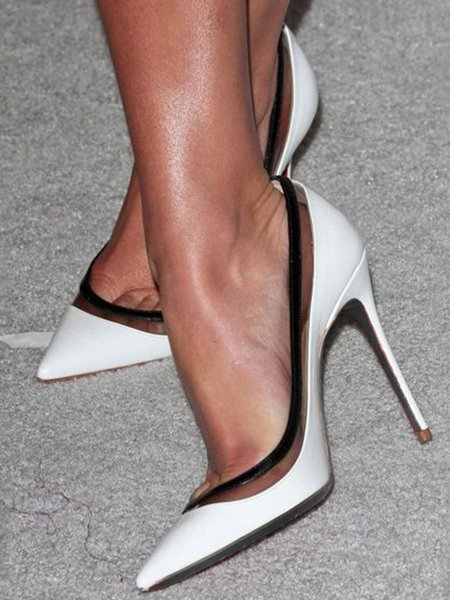 White Summer Stiletto Heel PU Heels