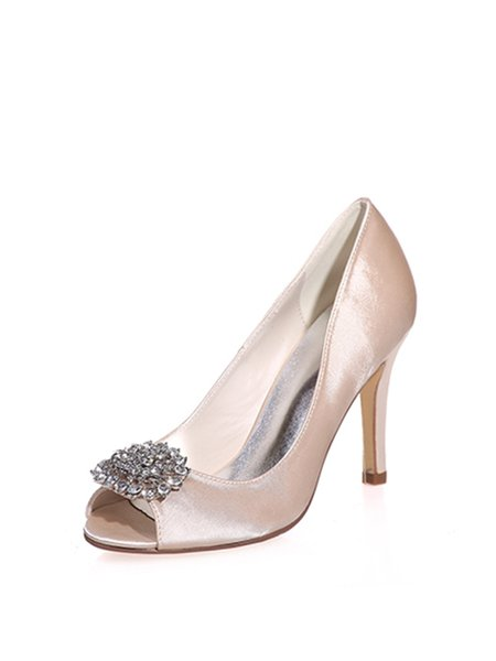 Champagne Silk Fabric Rhinestone Stiletto Heel Sandals