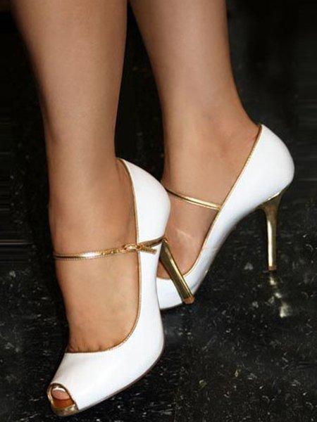 White Buckle Stiletto Heel Summer Sandals