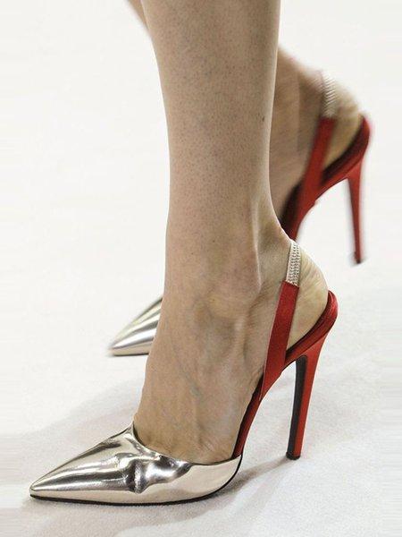 Golden Stiletto Heel Spring/Fall Sandals