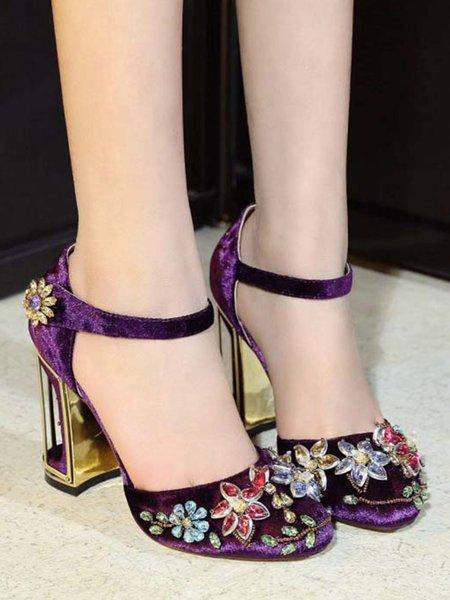 Purple Summer Stiletto Heel Beading Suede Casual Sandals