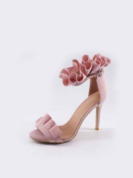 Pink Stiletto Heel Ruffles Sandals