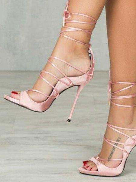 Pink High Heel Lace-up Silk Fabric Summer Heels