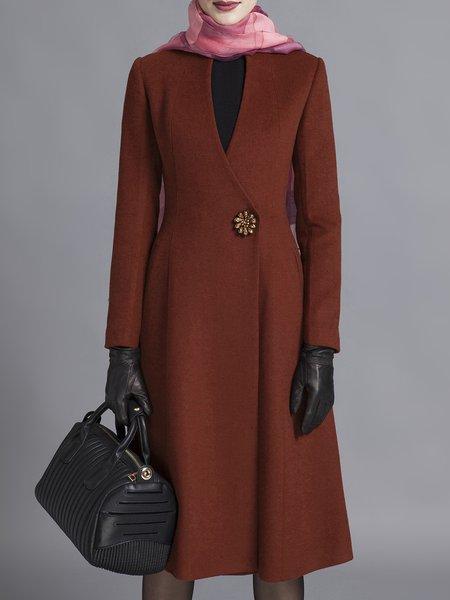 Simple V Neck Long SleeveWool-blend A-line Coat
