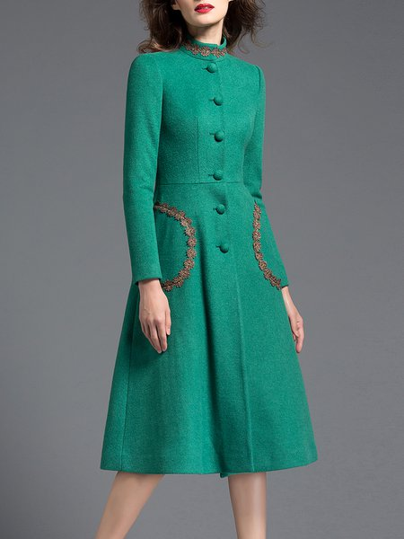 Green Lace Trimmed Long Sleeve Pockets Stand Collar Coat