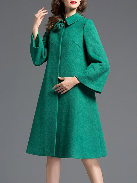 Green Long Sleeve A-line Simple Plain Coat