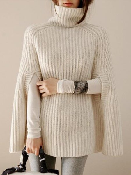 Casual A-line Sweater Turtleneck Poncho And Cape