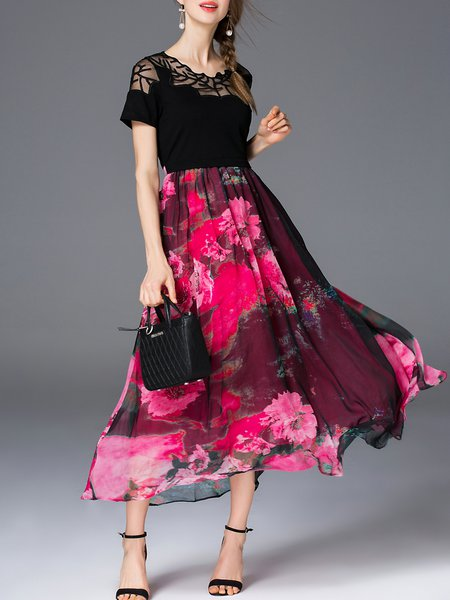 Red Crew Neck Floral Short Sleeve A-line Maxi Dress