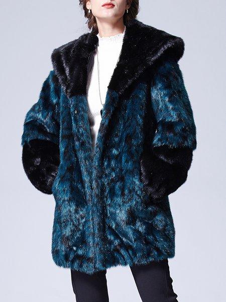 Blue Paneled H-line Long Sleeve Pockets Coat