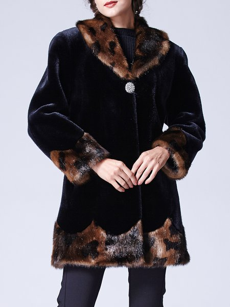 Black Velvet Casual H-line Color-block Coat