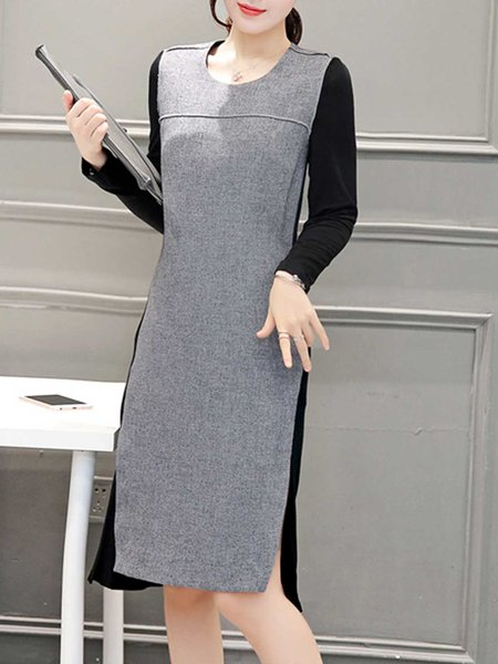 Plain Simple Pockets Crew Neck Midi Dress