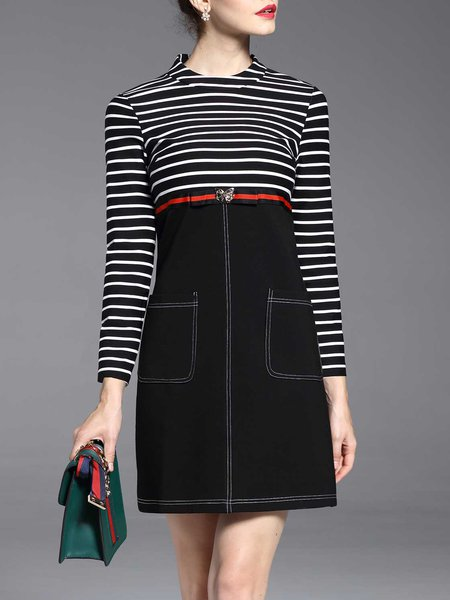 Black Knitted Stripes Long Sleeve Mini Dress
