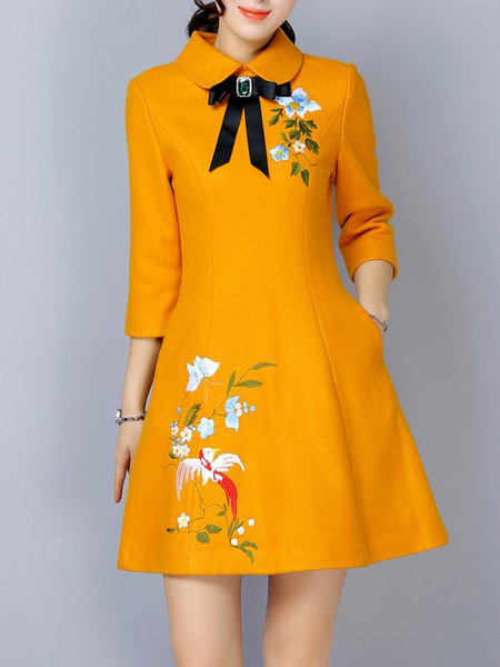 Embroidered A-line Bow Polyester 3/4 Sleeve Mini Dress