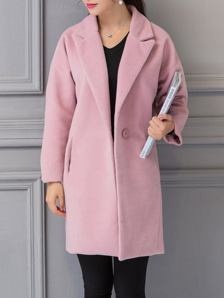 Pink Slit Casual Pockets Coat