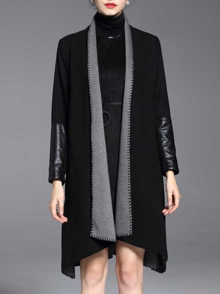 Plain Long Sleeve H-line Casual Pockets Coat