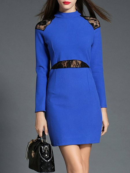 Blue Long Sleeve Stand Collar Paneled Mini Dress