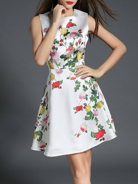 White Sleeveless Floral Printed A-line Midi Dress