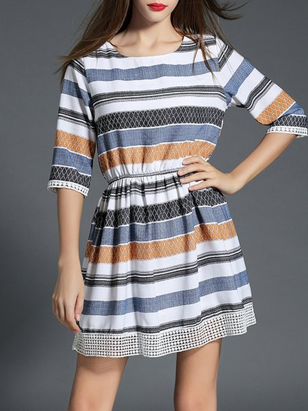 Blue Elegant Color-block Crew Neck Mini Dress