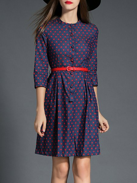 Blue H-line Elegant Polka Dots Midi Dress