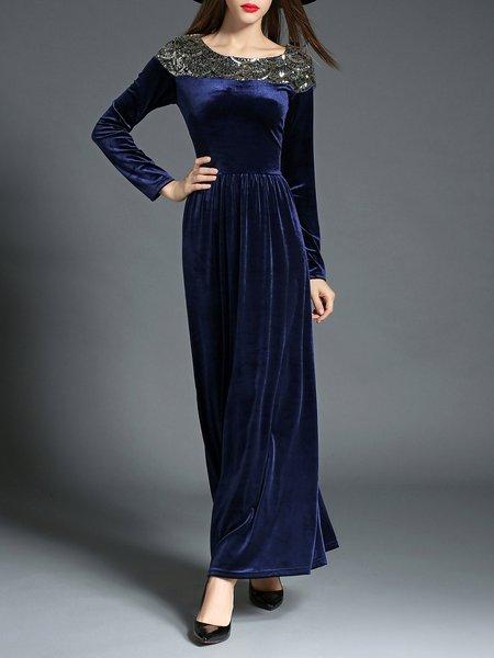 Navy Blue A-line Evening Maxi Dress